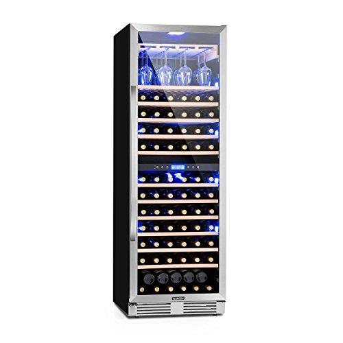 Klarstein Vinovilla Grande Duo - Weinkühlschrank, Getränkekühlschrank, 425 L, 165 Weinflaschen, 12 Holzeinschübe, Touch, LED-Beleuchtung, Weinglashalterung, 2 Kühlzonen, schwarz